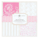 Anna Griffin - Hannah Collection - 8x8 Flocked and Embossed Cardstock Pack - Pink