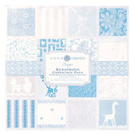 Anna Griffin - Hannah Collection - 12x12 Flocked and Embossed Cardstock Pack - Blue