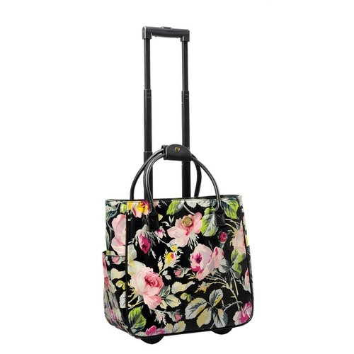 Anna Griffin - Grace Black Collection - Laminated Fabric Rolling Bag
