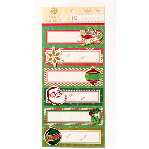 Anna Griffin - Twinkle Bright Collection - Christmas - 3 Dimensional Handmade Stickers with Foil Accents