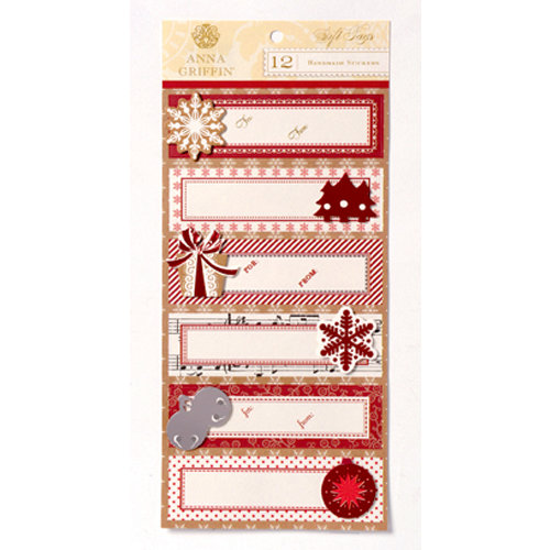 Anna Griffin - Christmas Kraft Collection - 3 Dimensional Handmade Stickers with Foil Accents
