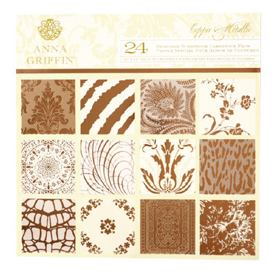 Anna Griffin - Copper Metallic Collection - 12 x 12 Cardstock Pack - Copper Foil