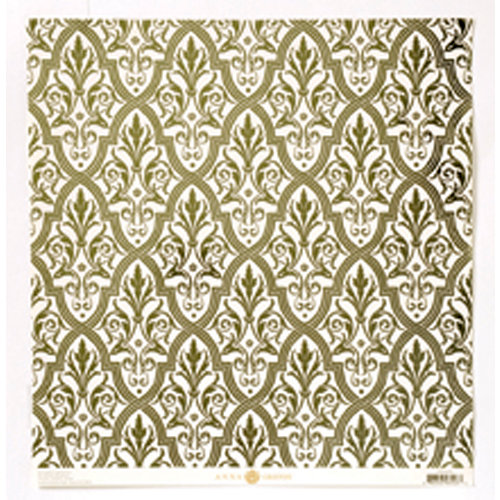 Anna Griffin - Camilla Collection - 12 x 12 Green Foiled Paper - Damask