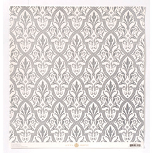 Anna Griffin - Camilla Collection - 12 x 12 Silver Foiled Paper - Damask
