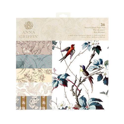 Anna Griffin - 12 x 12 Paper Pad - Beautiful Birds