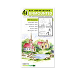Art Impressions - Watercolor Collection - Unmounted Rubber Stamp Set - Structures