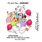 Art Impressions - Girlfriends Collection - Unmounted Rubber Stamp Set - Party Girls