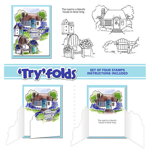 Art Impressions - Tryfolds Collection - Unmounted Rubber Stamp Set - Cottage