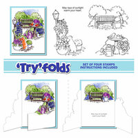 Art Impressions - Tryfolds Collection - Unmounted Rubber Stamp Set - Garden