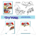 Art Impressions - Tryfolds Collection - Unmounted Rubber Stamp Set - Harvest