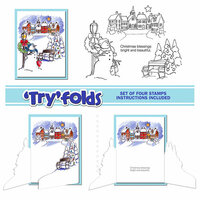 Art Impressions - Tryfolds Collection - Christmas - Unmounted Rubber Stamp Set - Village