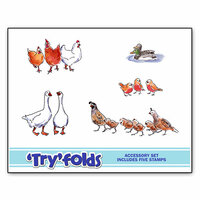 Art Impressions - Tryfolds Collection - Unmounted Rubber Stamp Set - Feathers