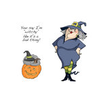 Art Impressions - Halloween Collection - Unmounted Rubber Stamp Set - Witch Wanda