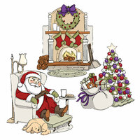 Art Impressions - Tryfolds Collection - Christmas - Unmounted Rubber Stamp Set - Sleepy Santa