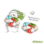 Art Impressions - Shakers Collection - Christmas - Unmounted Rubber Stamp Set - Snowman