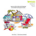 Art Impressions - Tryfolds Collection - Unmounted Rubber Stamp Set - Beach Set