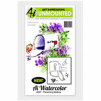 Art Impressions - Watercolor Minis Collection - Unmounted Rubber Stamp Set - Flowering Mailbox