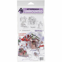 Art Impressions - Tryfolds Collection - Christmas - Unmounted Rubber Stamp Set - Christmas Scene