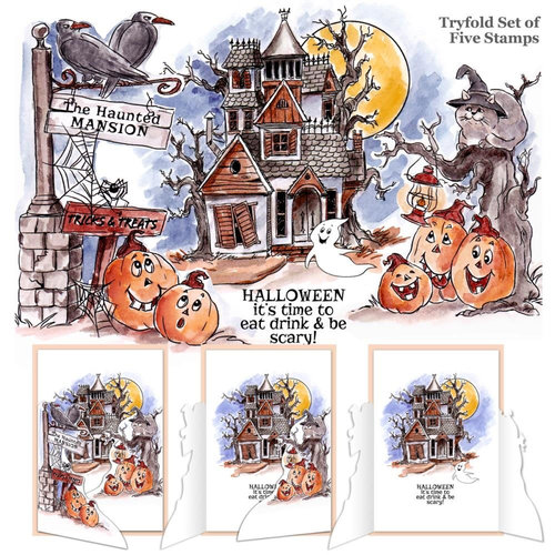 Art Impressions - Tryfolds Collection - Halloween - Unmounted Rubber Stamp Set - Haunted House