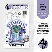 Art Impressions - Watercolor Minis Collection - Unmounted Rubber Stamp Set - Wooden Door