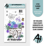 Art Impressions - Watercolor Minis Collection - Unmounted Rubber Stamp Set - Flower Cart