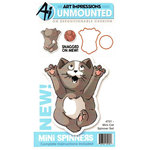 Art Impressions - Mini Spinners Collection - Die and Unmounted Rubber Stamp Set - Cat
