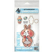 Art Impressions - Mini Spinners Collection - Die and Unmounted Rubber Stamp Set - Bunny