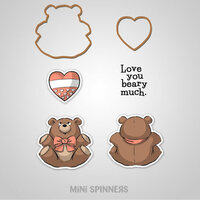 Art Impressions - Mini Spinners Collection - Die and Unmounted Rubber Stamp Set - Bear