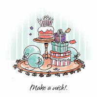 Art Impressions - Cottage Sets Collection - Unmounted Rubber Stamp Set - Make a Wish