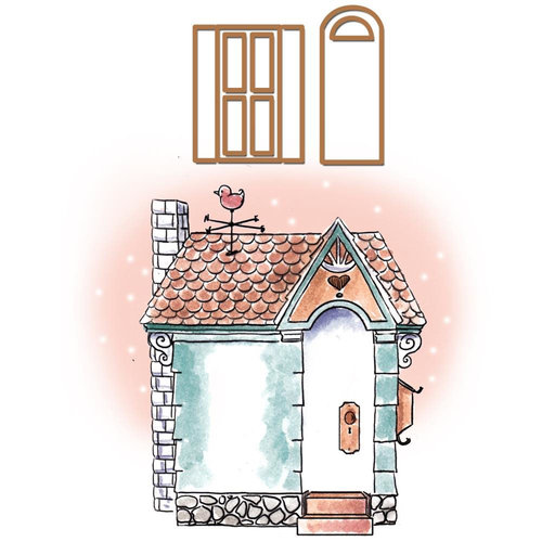 Art Impressions - Cottage Sets Collection - Die and Unmounted Rubber Stamp Set - Cottage