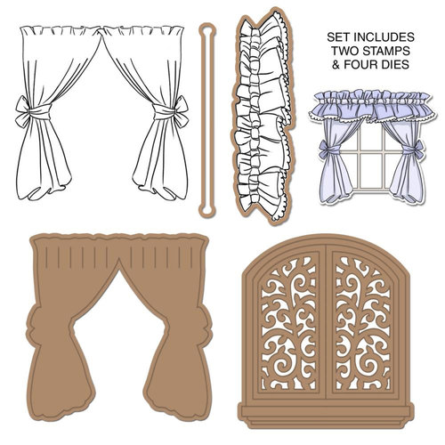 Art Impressions - Die and Unmounted Rubber Stamp Set - Window Deco