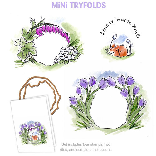 Art Impressions - Mini Tryfolds Collection - Unmounted Rubber Stamp Set - Blessings To You