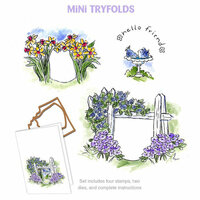 Art Impressions - Mini Tryfolds Collection - Unmounted Rubber Stamp Set - Hello Friend
