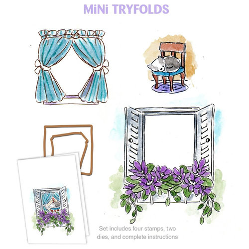 Art Impressions - Mini Tryfolds Collection - Unmounted Rubber Stamp Set - Garden Window