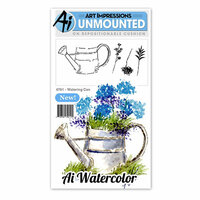 Art Impressions - Watercolor Minis Collection - Unmounted Rubber Stamp Set - Watering Can
