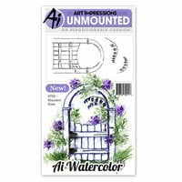 Art Impressions - Watercolor Minis Collection - Unmounted Rubber Stamp Set - Wooden Gate