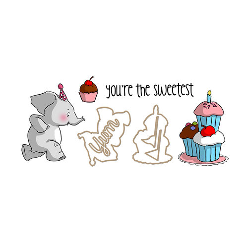Art Impressions - Sliders Collection - Dies and Unmounted Rubber Stamp Set - Elephant