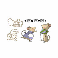 Art Impressions - Sliders Collection - Dies and Unmounted Rubber Stamp Set - Mouse
