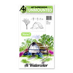 Art Impressions - Watercolor Minis Collection - Unmounted Rubber Stamp Set - Old Barn