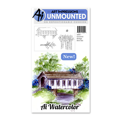 Art Impressions - Watercolor Minis Collection - Unmounted Rubber Stamp Set - Covered Bridge