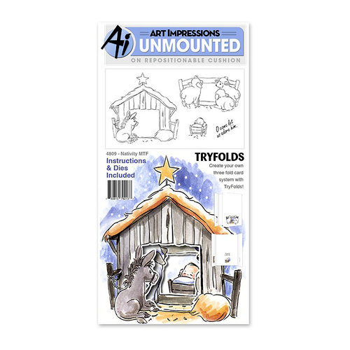 Art Impressions - Mini Tryfolds Collection - Christmas - Die and Clear Photopolymer Stamp Set - Nativity