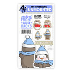 Art Impressions - Mini Front and Backs Collection - Christmas - Die and Unmounted Rubber Stamp Set - Snowman and Penguin