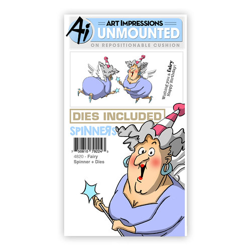 Art Impressions - Spinners Collection - Die and Unmounted Rubber Stamp Set - Fairy
