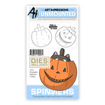 Art Impressions - Spinners Collection - Halloween - Die and Unmounted Rubber Stamp Set - Pumpkin