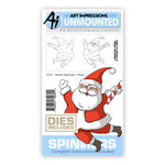 Art Impressions - Spinners Collection - Christmas - Die and Unmounted Rubber Stamp Set - Santa
