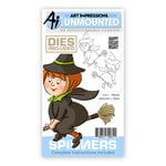 Art Impressions - Spinners Collection - Halloween - Die and Unmounted Rubber Stamp Set - Witch