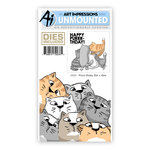 Art Impressions - Front and Backs Collection - Die and Unmounted Rubber Stamp Set - Purrr-thday