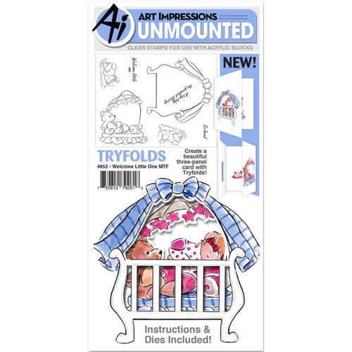 Art Impressions - Mini Tryfolds Collection - Unmounted Rubber Stamp and Dies Set - Welcome Little One