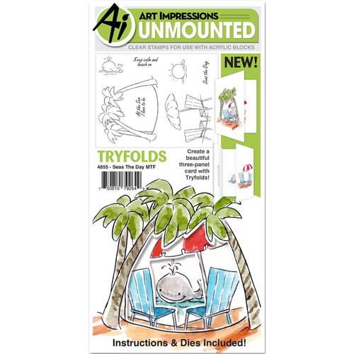 Art Impressions - Mini Tryfolds Collection - Unmounted Rubber Stamp and Die Set - Seas The Day