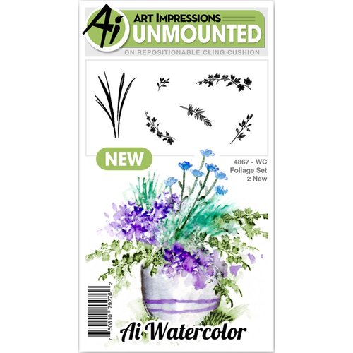 Art Impressions - Watercolor Collection - Unmounted Rubber Stamp Set - Foliage 2